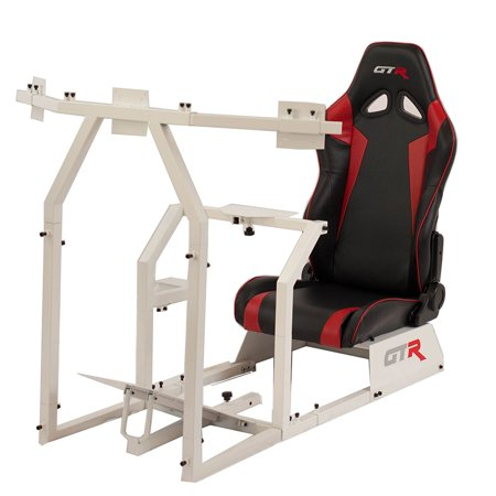 GTR Racing Simulator GTAF-WHT-S105LBLKRD - GTA-F Model (White) Triple or Single Monitor Stand with Black/Red Adjustable Leatherette Seat, Racing Simulator Cockpit gaming chair Single Monitor