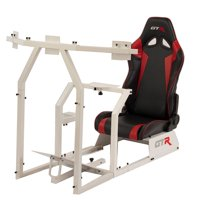 GTR Racing Simulator GTAF-WHT-S105LBLKRD - GTA-F Model (White) Triple or Single Monitor Stand with Black/Red Adjustable Leatherette Seat, Racing Simulator Cockpit gaming chair Single Monitor Stand
