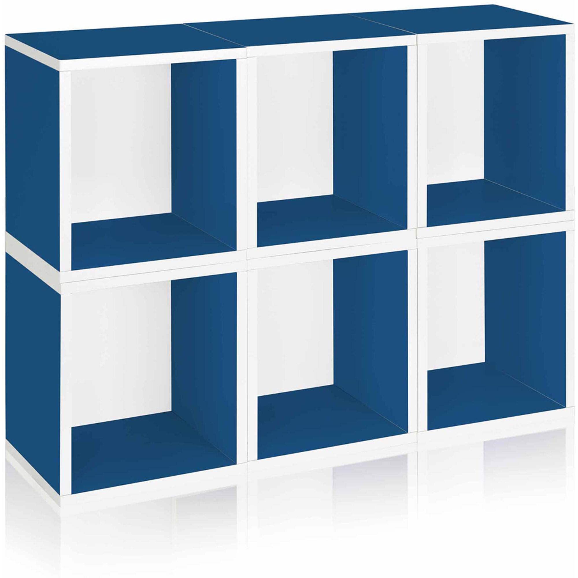 Way Basics Eco Stackable Modular Storage Cubes Plus, Blue, 6-Pack