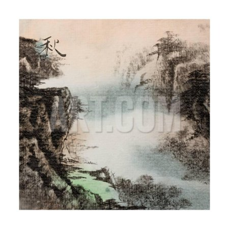 Chinese Glass Inside Painting (Chinese Traditional Ink Painting, Landscape of Season, Fall. Print Wall Art By elwynn )