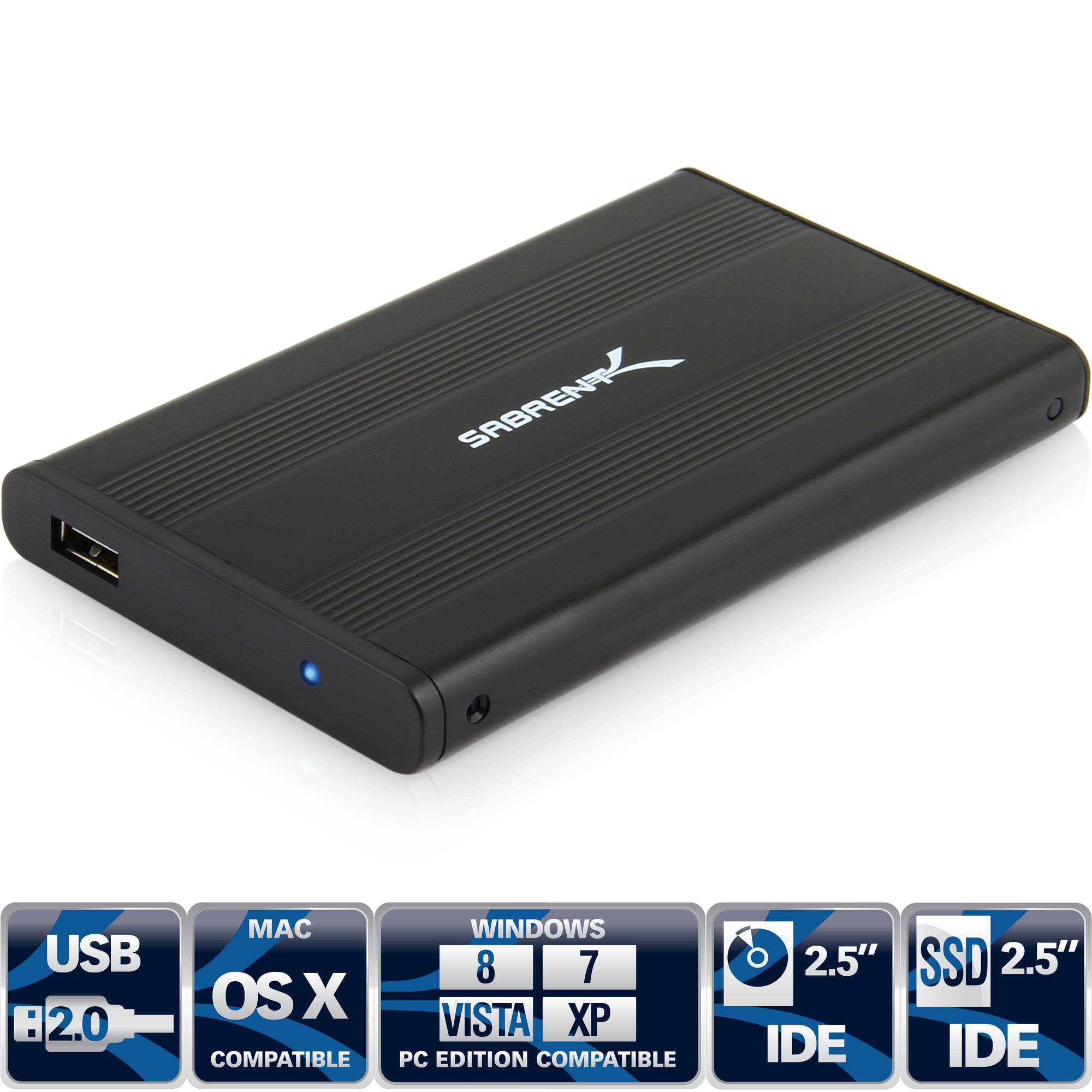 Sabrent - USB 2.0 Super Slim 2.5 Inch Aluminum Hard Drive Enclosure, Black