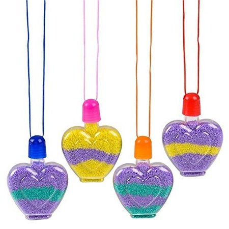 Heart Sand Art Necklace - Cool and Fun Stylish Assorted Heart-Shaped Bottle Necklace For Kids and Adults - Novelty & Gag Toys, Party Favor, Bag Stuffer, Giveaway, Valentine's Gift, By Kidsco](Led Giveaways)