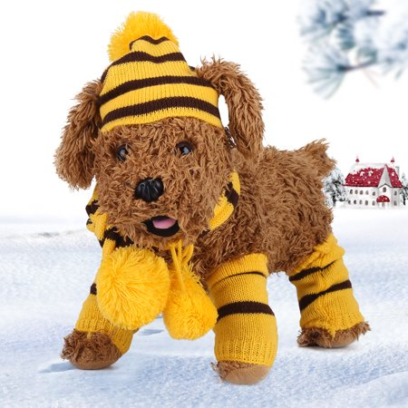 Aramox Autumn Winter Puppy Pet Dog Accessories Set Cute Knitted Hat + Scarf + Leg Warmer, Pet Dog Leg Warmer,Winter Puppy Accessories