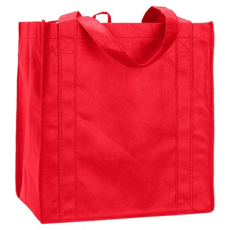 UltraClub Non Woven Reusable Shopping Handle Tote Bag, Red, One, Style, R3000 (Red Tote Bag)