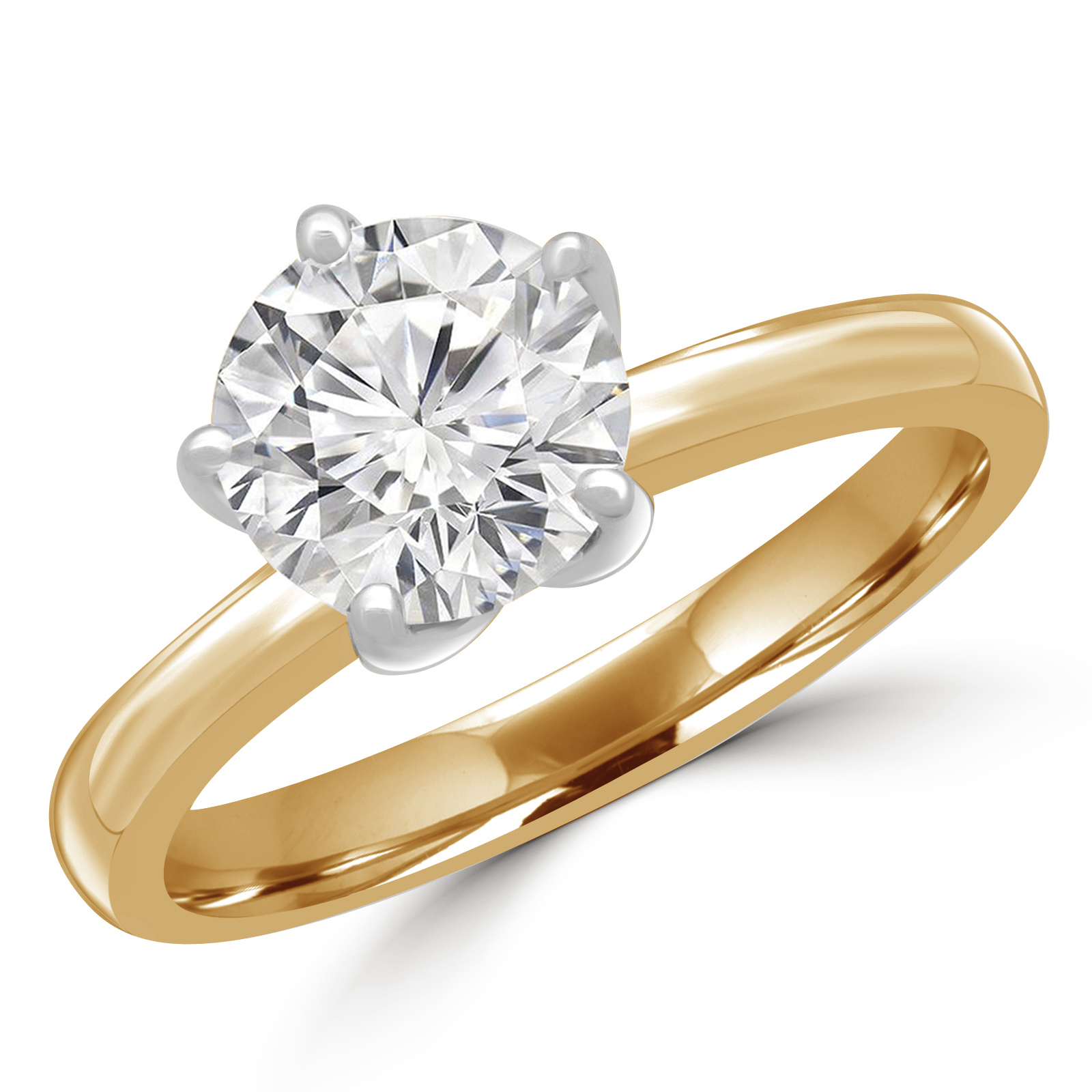 1 1/5 CT Round Diamond Solitaire Engagement Ring in 14K Two-Tone Gold (MD180439) - image 2 de 2