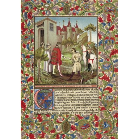 Guillaume De Mandeville3Rd Earl Of Essex (1St Creation)  Died 1189 Meets King Richard I The Lionheart In Front Of A French Castle 19Th Century Chromolithograph After An Illuminated Page From 14Th Cent