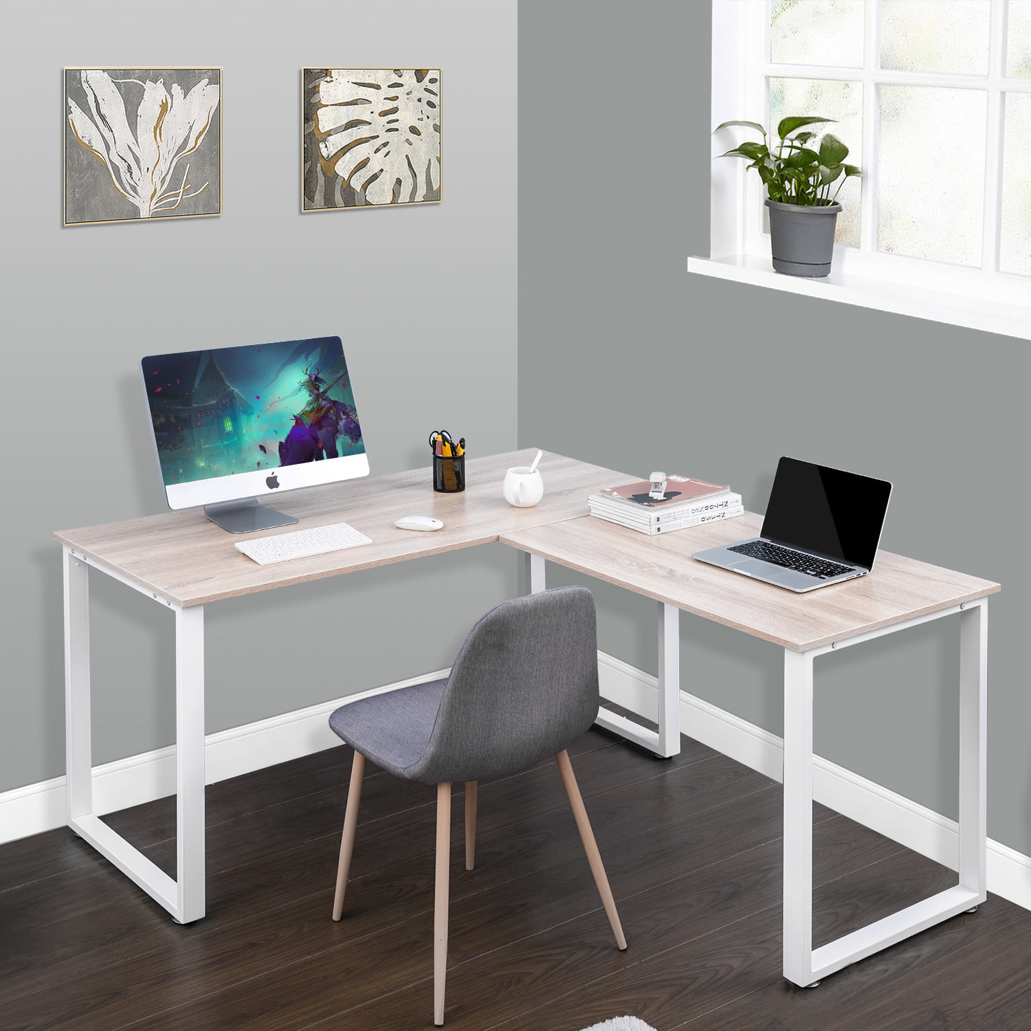 L Shaped Computer Desk Industrial Office Corner Desk 58 Writing Study Table Wood Tabletop Home Gaming Desk With Metal Frame Large 2 Person Table For Home Office Workstation Oak B2240 Walmart Com
