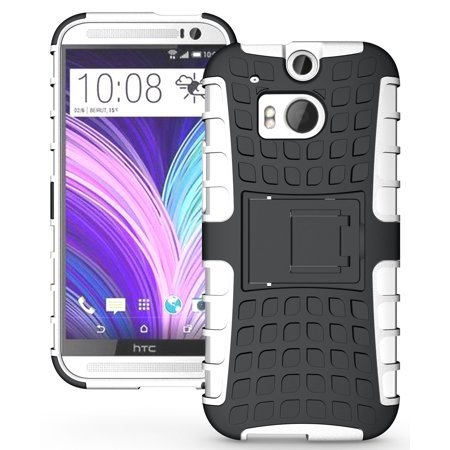 NAKEDCELLPHONE WHITE GRENADE GRIP RUGGED TPU SKIN HARD CASE COVER STAND FOR HTC ONE M8 2014  (AT&T, T-Mobile, Sprint, Verizon,