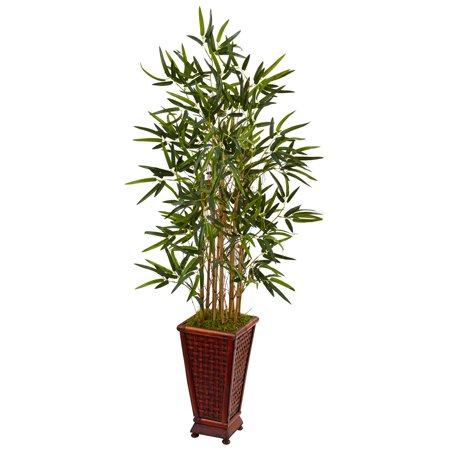 Nearly Natural 4.5' Bamboo Artificial Tree in Decorative Planter ()