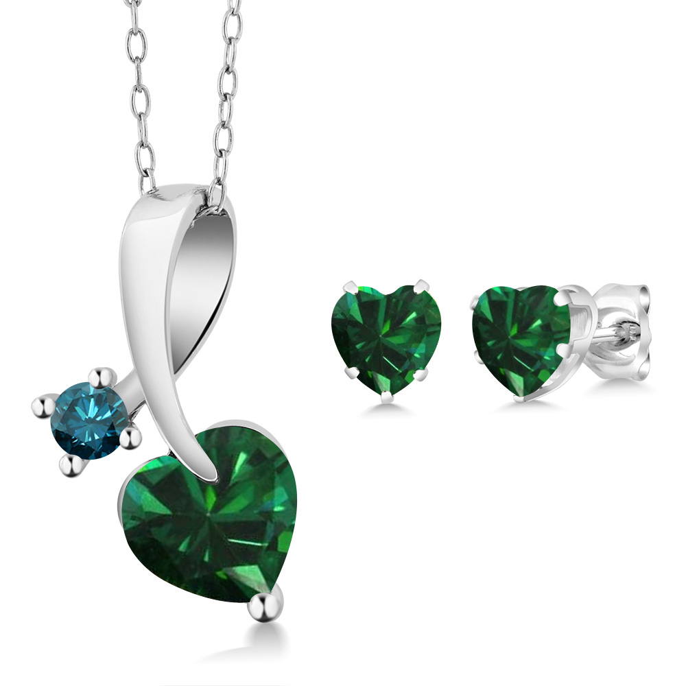 1.80 Ct Heart Shape Green Simulated Emerald 925 Sterling Silver Pendant Earrings Set by