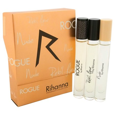 Rihanna Fragrance Collection by Rihanna for Women - 3 Pc Mini Gift Set 0.2oz Rebl Fleur EDP Rolerball, 0.2oz Rouge EDP Rollerball, 0.2oz Nude EDP (American Limoges Le Fleur Rouge 22k Gold)