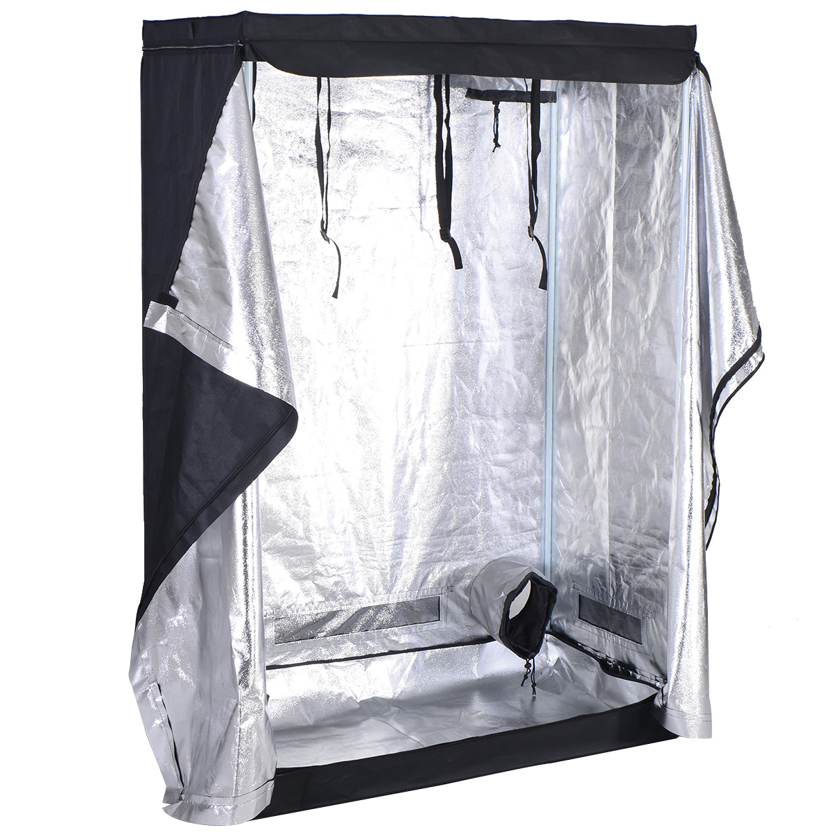 Costway Indoor Grow Tent Room Reflective Hydroponic Non Toxic Clone Hut 6 Size (48''X24''X72'')