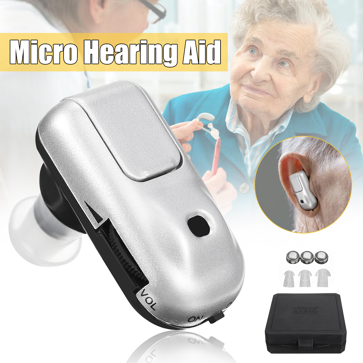 Mini In Ear Micro Plus Sound Amplifier Hearing Aid Adjustable Volume Tone sound amplifier Battery Aids for The Elderly Deaf