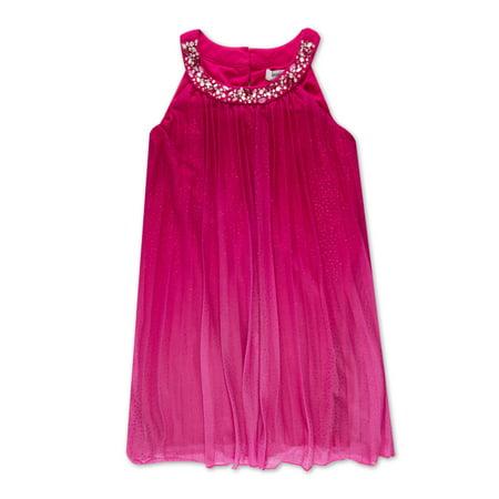 Embellished Neck Pleated Occasion Dress (Big Girls) (Girls Occasion Dresses)