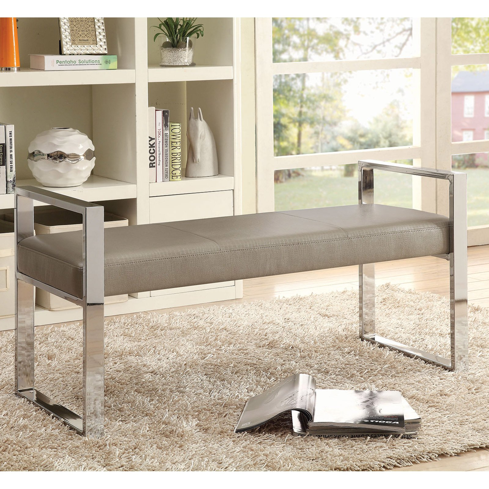 Coaster Company Bench, Champagne Leatherette with Chrome Legs
