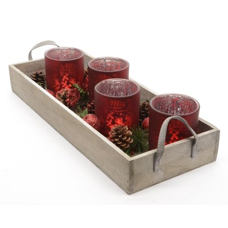 7-Piece Set Country Cabin Red Glass Tea Light Candle Holders and Tray Christmas Decoration 17.75