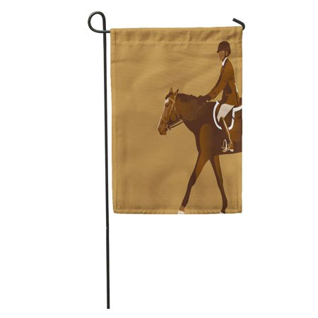Jumper Saddle (SIDONKU Brown Derby Equestrian Rider Horse Jumper Reins Saddle Boots Garden Flag Decorative Flag House Banner 28x40 inch)