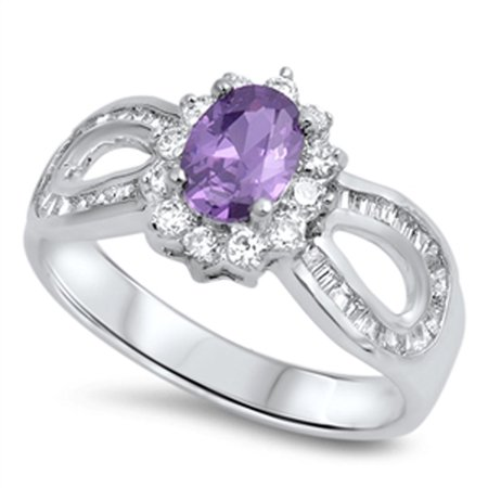 Women's Wedding Ring Simulated Amethyst New .925 Sterling Silver Halo Band Size (Best New Progressive Rock Bands)