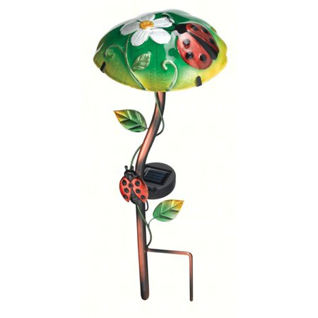 Regal Art and Gift Solar Mushroom Stake with Ladybug