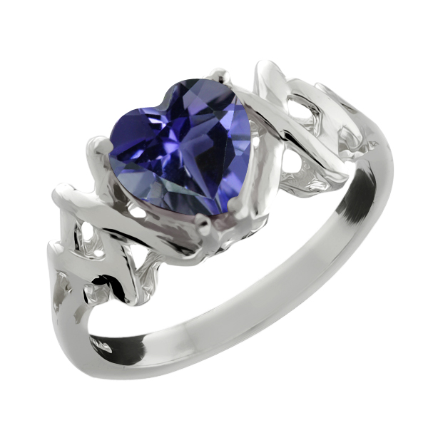 0.84 Ct Heart Shape Blue Iolite Sterling Silver Ring