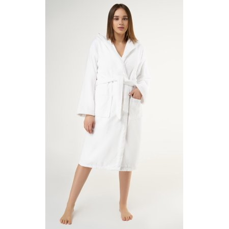 Heavy Womens 3.5lb White Hooded Terry Cloth Bathrobe. Full Length 100% Turkish Cotton