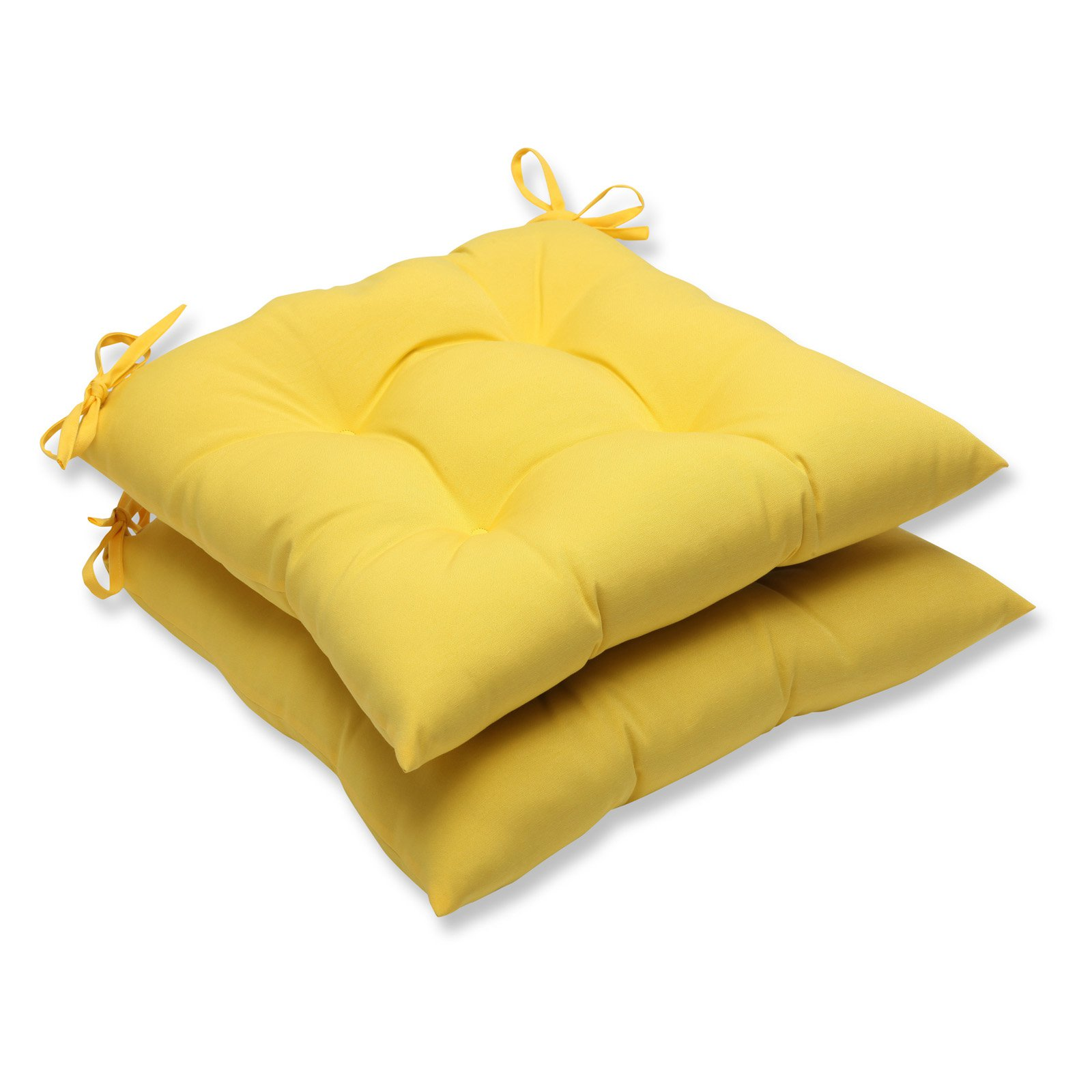 Pillow Perfect Outdoor/ Indoor Fresco Yellow Wrought Iron Seat Cushion (Set of 2)