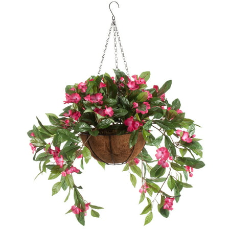"OakRidge Miles Kimball Fully Assembled Artificial Impatiens Hanging Basket, 10"" Diameter and 18"" Chain – Dark Pink Polyester/Plastic Flowers in Metal and Coco Fiber Liner Basket for Indoor/Outdoor"