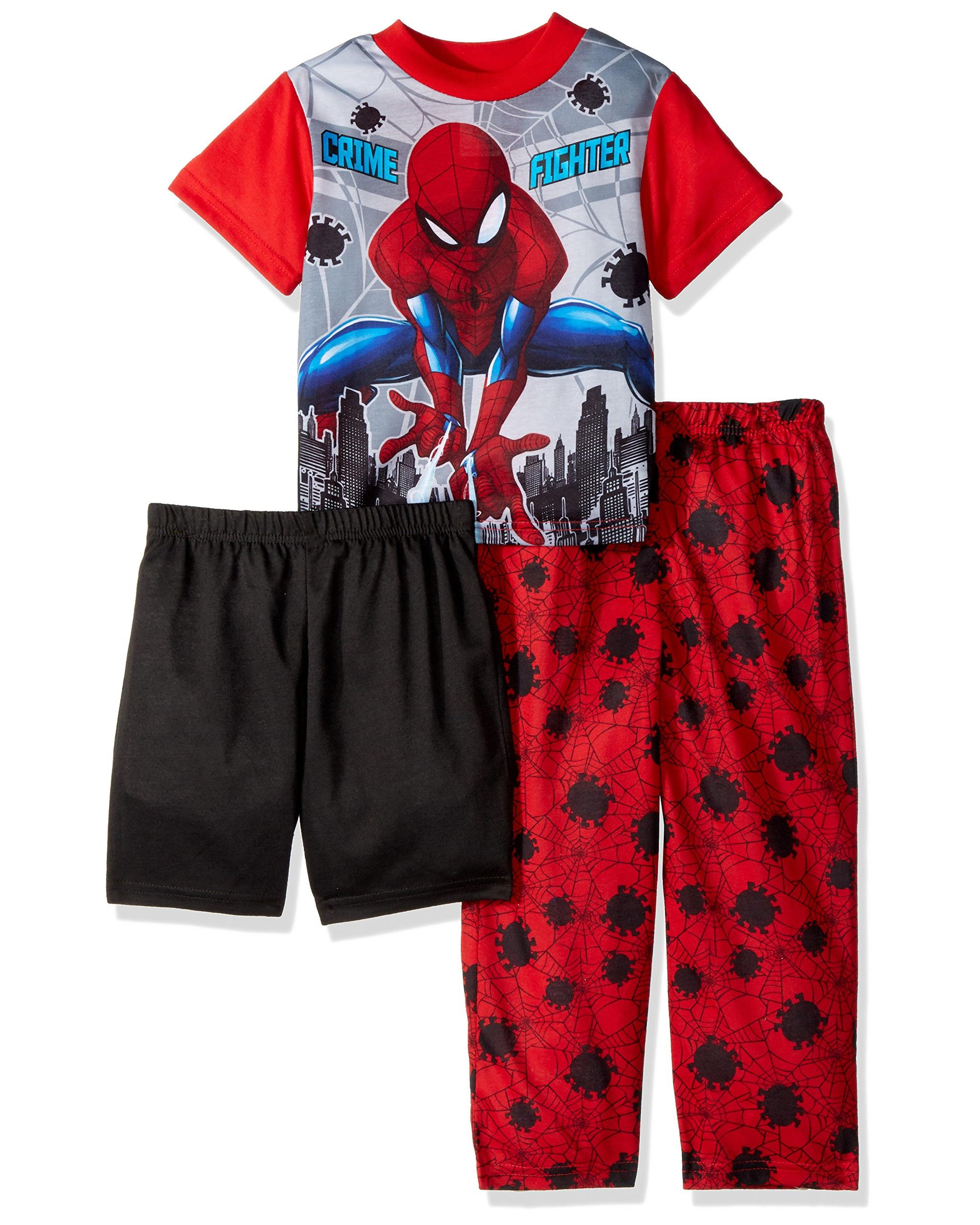Marvel Boys' Spiderman 3-Piece Pajama Set, Red Web, Size: 10