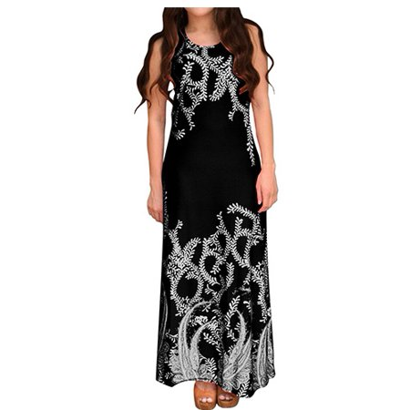 Peach Couture Paisley Print Sleeveless Scoop Neck Beach Maxi Dress
