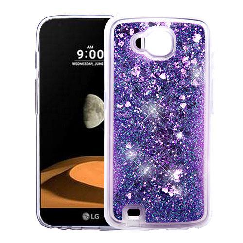 For LG X Venture Case / LG X Calibur Case / LG V9 Case Hybrid Quicksand Liquid Glitter TPU Phone Cover (Hearts & Purple Quicksand Glitter)