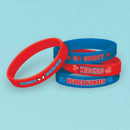 Marvel\'s Ultimate Spider-Man Birthday Party Rubber Bracelet Favour, Pack Of 4, Blue/Red , 2.5 \