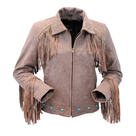 - Turquoise and Fringe Brown Leather Jacket for Women #L17081ZFTN- S