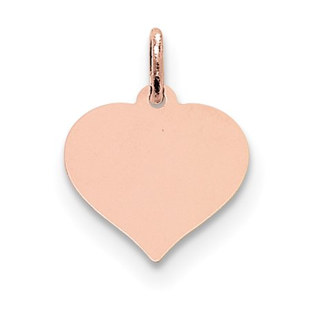 14k Rose Gold Heart Disc Pendant Charm Necklace Love Engravable Curved Shaped Fine Jewelry For Women Gift Set