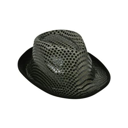 Ganster Hats (Funky Black Sequin Roaring 20s Gangster Fedora)