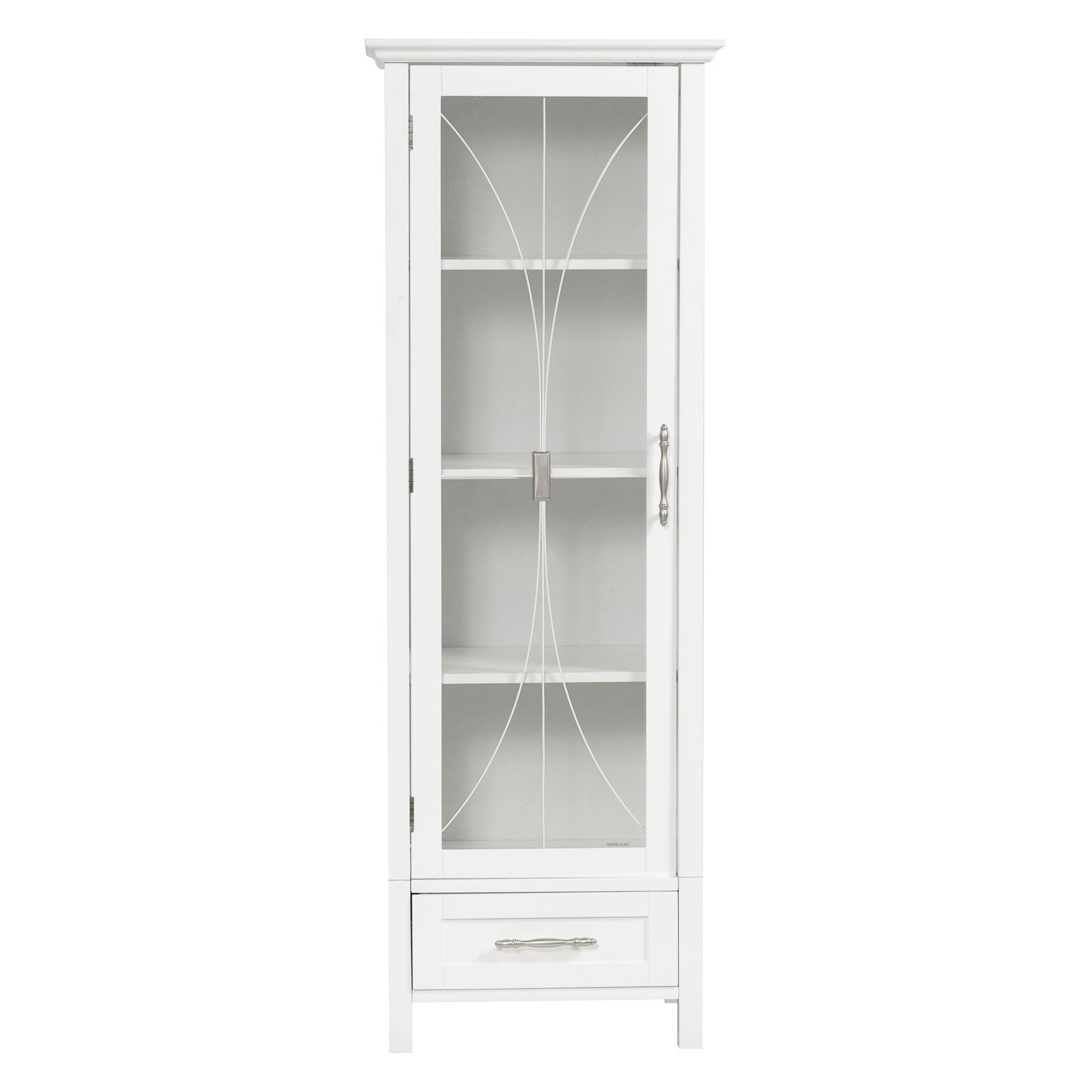 Elegant Home Delaney White Linen Cabinet With 1 Door And 1 Bottom Drawer    Walmart.com
