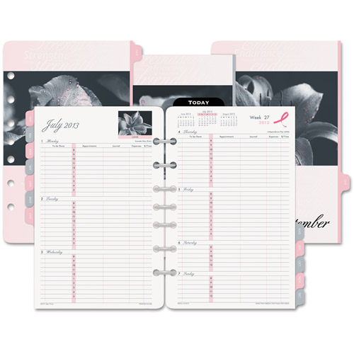 "Day-Timer Pink Ribbon Two-Page-Per-Week Organizer Refill, 5-1/2"" X 8-1/2"", 2016"
