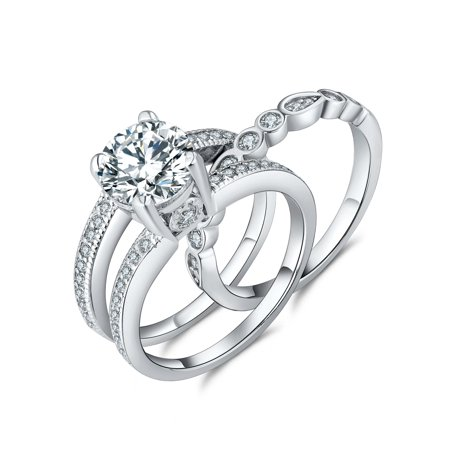 Wedding Ring Set 2.1 Carats Round Cut Cubic Zirconia Sterling Silver Bridal sets for Women