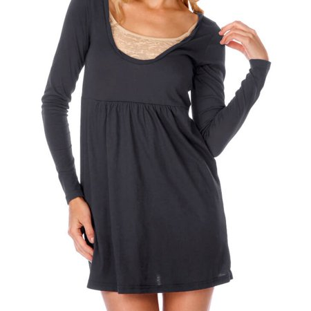 Kavio! Junior Sheer Jersey Scoop Neck Long Sleeve Dress Silicon Wash Charcoal XL ()