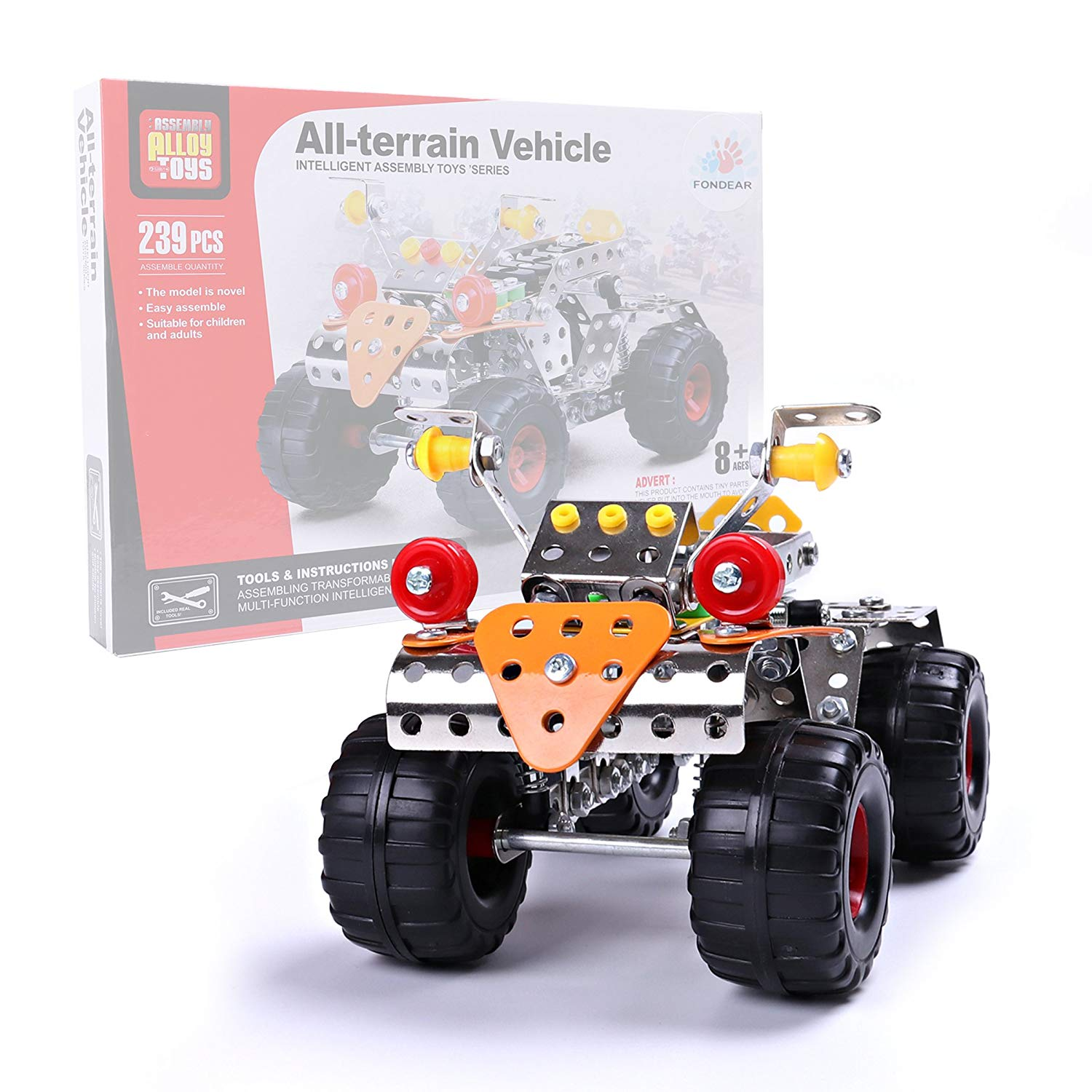 Fondear Children's STEM Learning Toy Vehicle Building Brick Set Off Roader Building Set, Driven by Friction Force, Tutorial Toy for Kids (Off Roader)