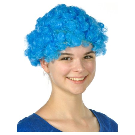 Mens Womens Child Costume Accessory Dress Up Blue Afro Team Spirit Clown  Wigs d792e2e180