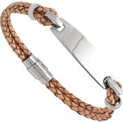 Stainless Steel Polished ID and Tan Leather Woven Bracelet, 8.5