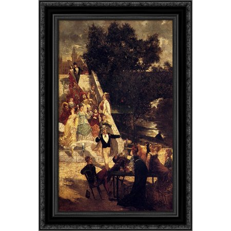 The terrace of the Chateau de St. Germain 19x24 Black Ornate Wood Framed Canvas Art by Monticelli, Adolphe Thomas