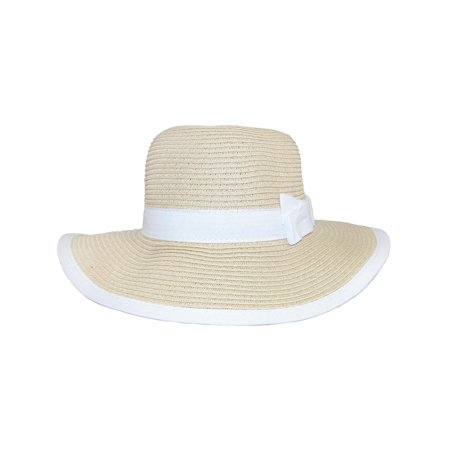 Size one size Girls' Sun Hat with Bow and Edge Trim, Natural - Tam O Shanter Hat