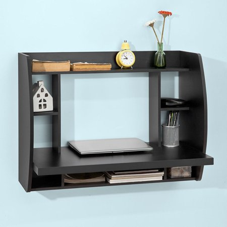 Wood Home Office Wall Mounted Table Desk With Shelves Black Fwt18 Sch