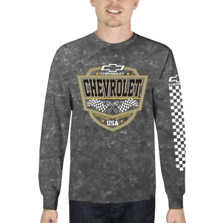 Chevrolet Men's Long Sleeve Mineral Wash Graphic T-Shirt, up to Size 3XL - Mineral Wash Tee