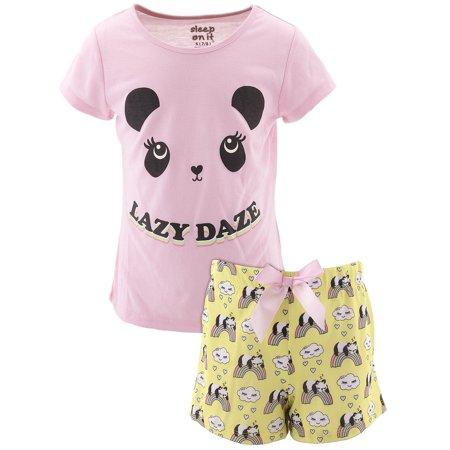 Sleep On It Girls Panda Lazy Daze Pink Short Pajamas](Panda Pajamas)
