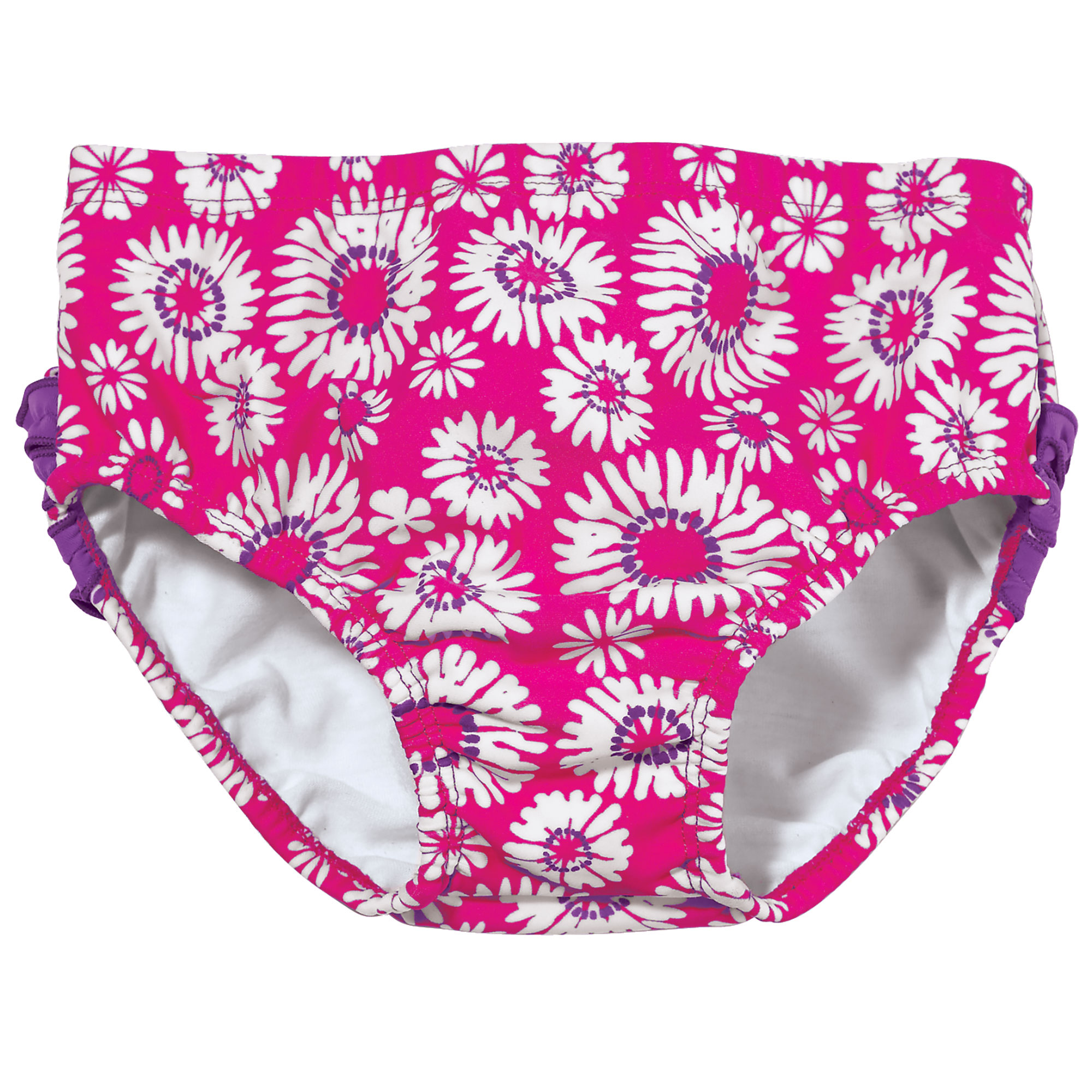 Sun Smarties Baby Girl Swim Diaper - Hot Pink Fuchsia Floral - Public Pool Approved