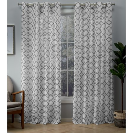 Exclusive Home Curtains 2 Pack Helena Printed Sheer Grommet Top Curtain Panels