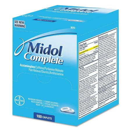 Midol Complete menstruelles Caplets, paquet de deux, 50 paquets / Boîte