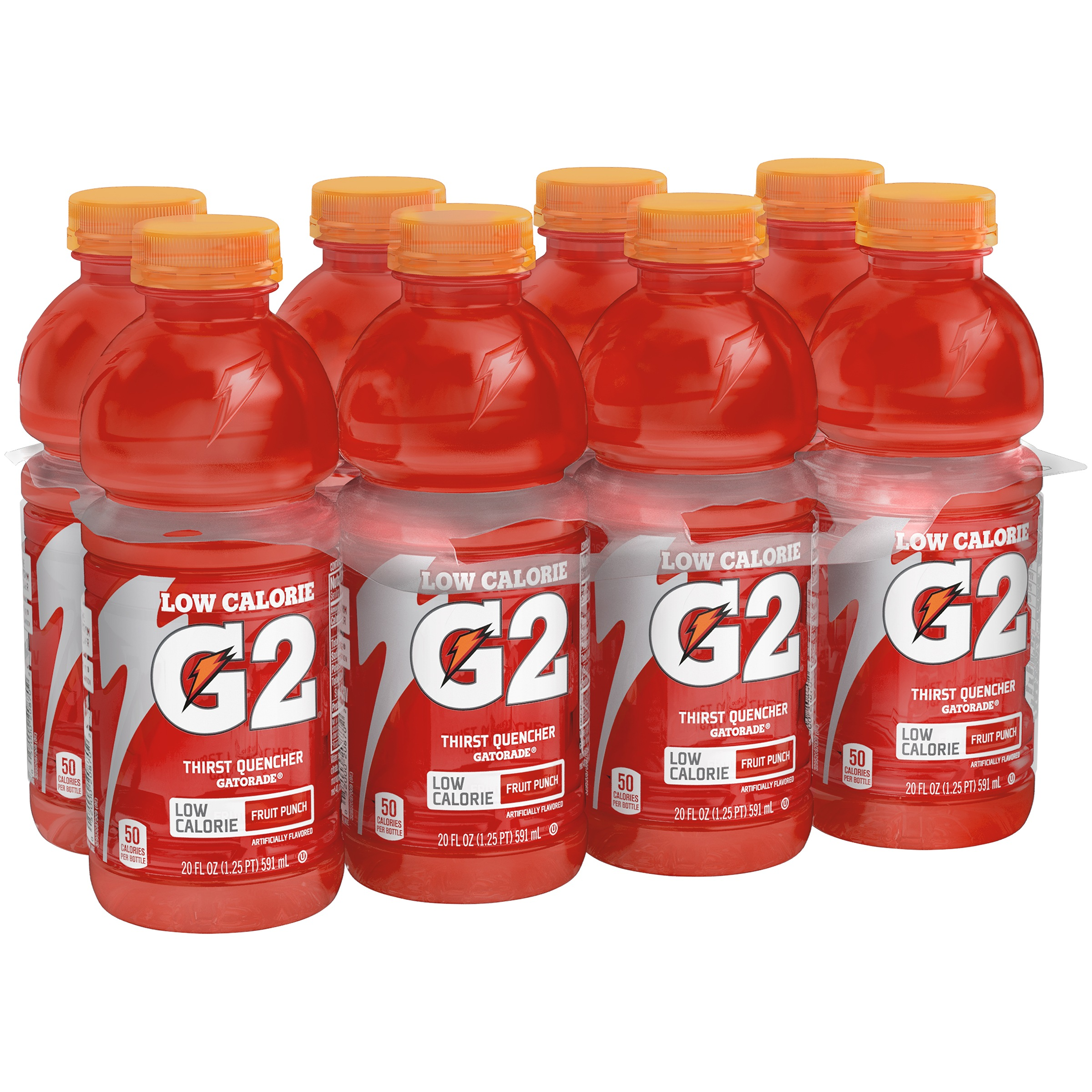Gatorade G2 Low Calorie Thirst Quencher, Fruit Punch, 8 Count, 20 fl oz Bottles